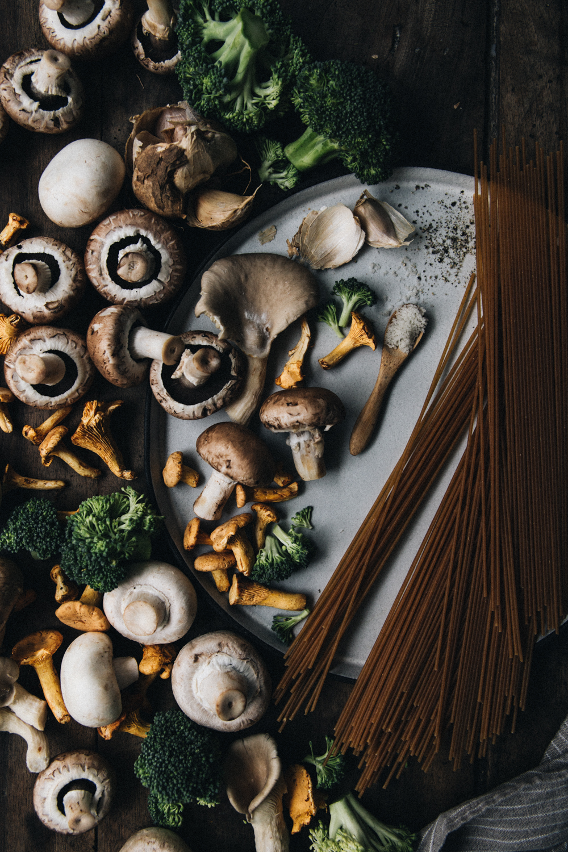 Spaghettis aux champignons & brocolis